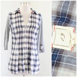 One September Plaid Mixed Media Button Down Top